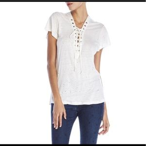 Olivaceous Distressed Lace Up Tee